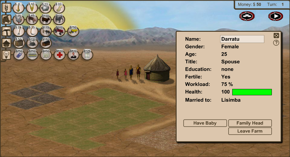 Play Screen for 3rd World Farmer Game