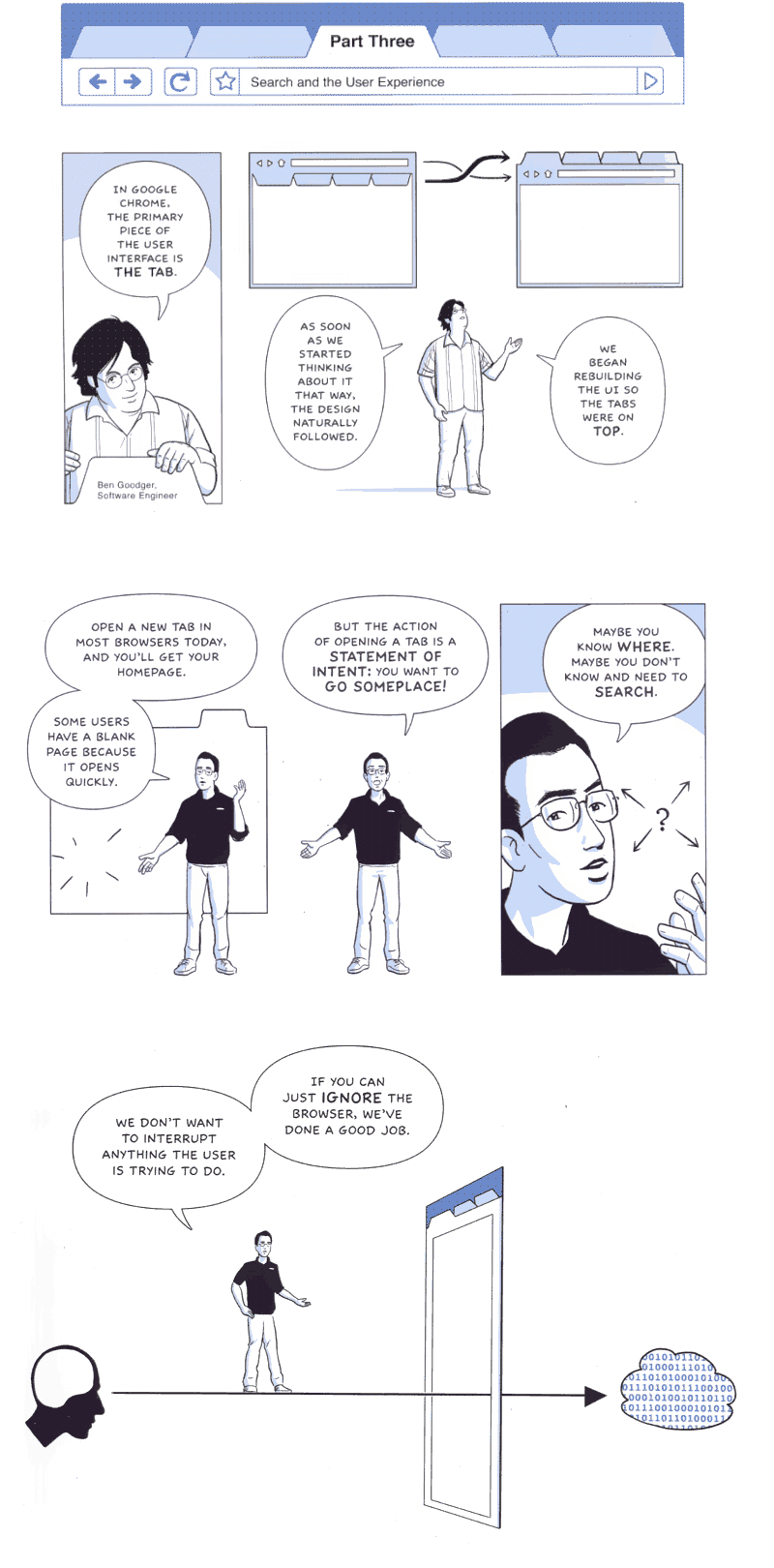 Excerpts from Google Chrome, the Cartoon - from page 18, 21, 24