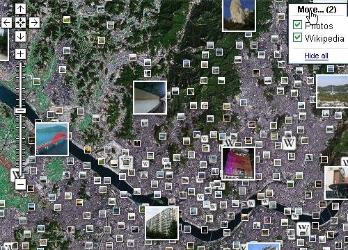 구글맵 서울지역 위키피디아와 파노라미오를 켜본 모습