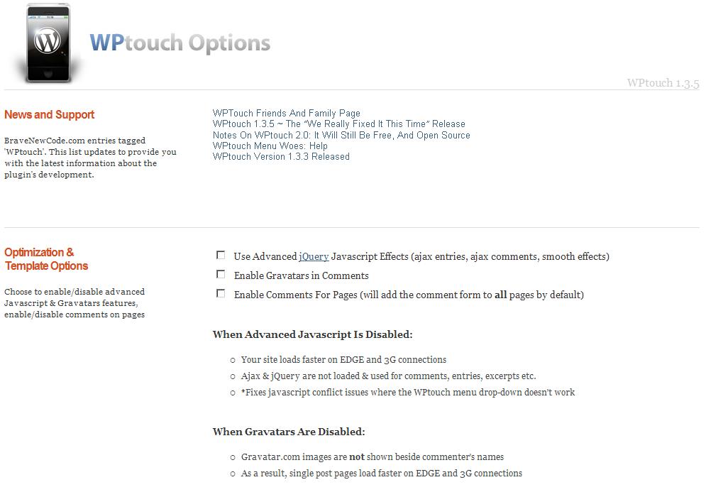 WPtouch의 옵션 화면