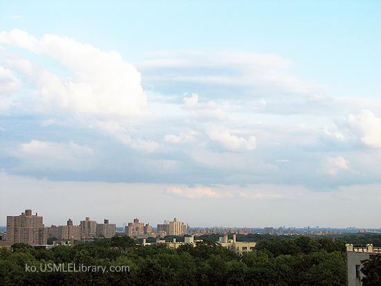 오늘 뉴욕은 구름이 잔뜩 낀 날씨다.