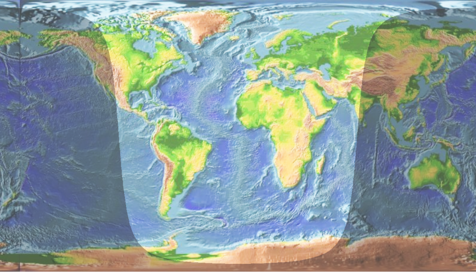 World atlas with daylight indication