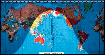 World atlas with daylight indication - during winter