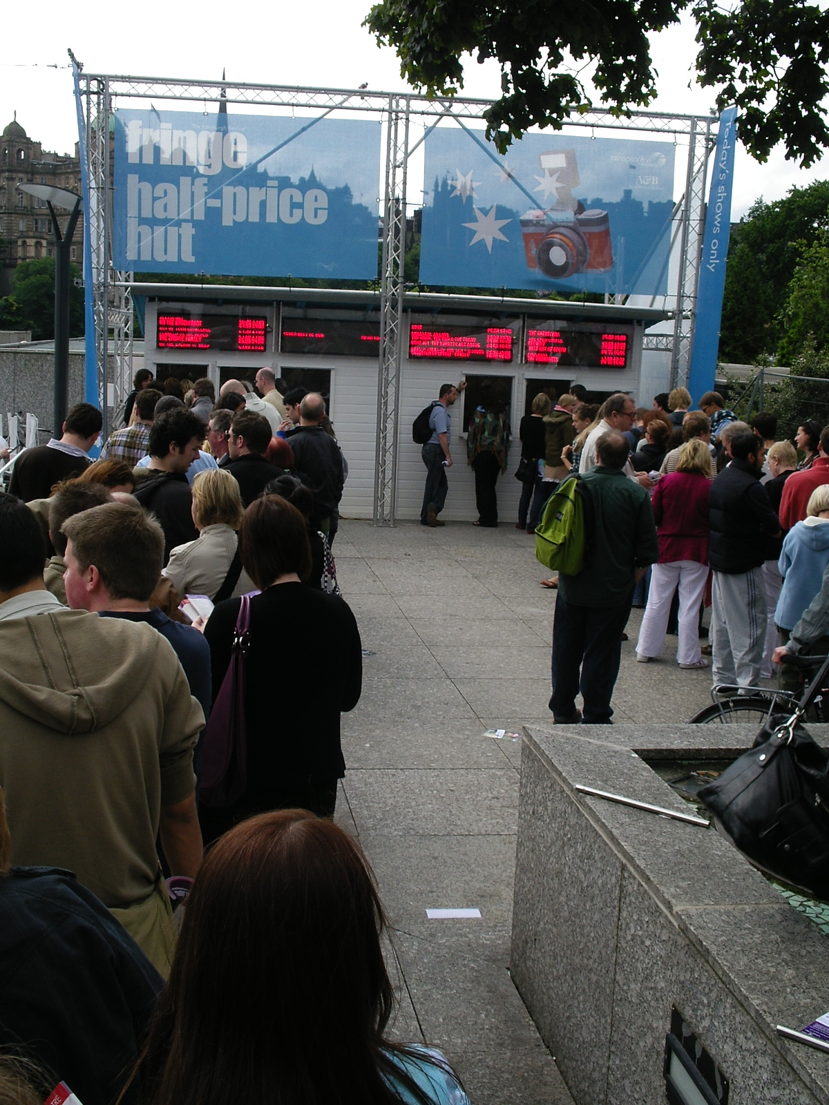 Queue for the Fringe - Half-price Hut