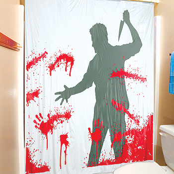 Bloody serial killer shower curtain for Psycho shower curtain and bath mat